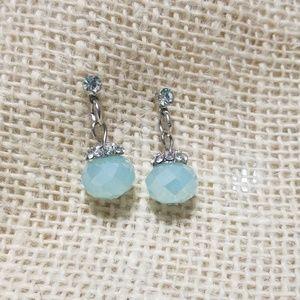 Vintage  Sky Blue Crystal Dangle Earrings